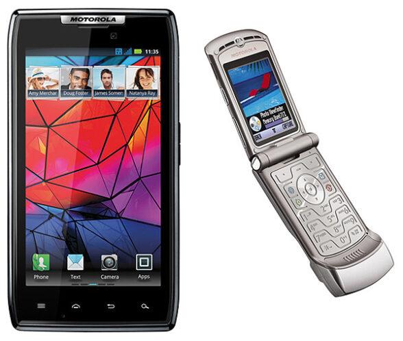 Razr-Telefone: Motorola belebte die Marke der Klapphandys (rechts) 2011 in einem modernen Touchscreen-Smartphone wieder. Besonders gut verkaufte sich das neue Razr aber nicht.