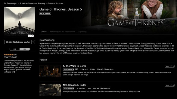 "Die neue Staffel ""Game of Thrones"" bei iTunes"