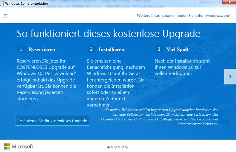 Microsoft drängelte beim Windows Update (Bild: Screenshot)