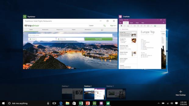 Windows 10 unterstützt virtuelle Desktops.