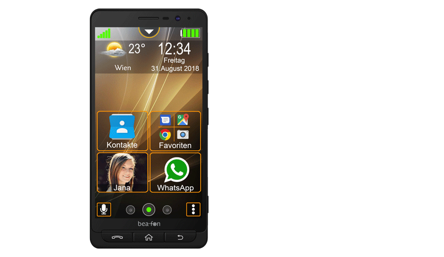 So sehen wohl in Zukunft Senioren-Smartphones aus: Bea-fon M5 (Bild: Bea-fon)