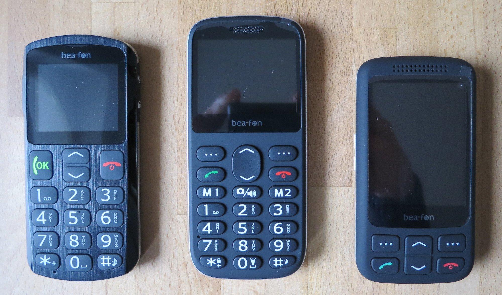 Die Seniorenhandys Bea-fon SL250, SL350 und SL750: zwei Barrenhandys und ein Slider (Bild: Peter Giesecke)