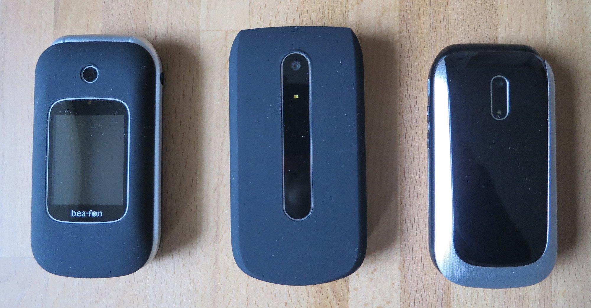 Die Senioren-Klapphandys Bea-fon SL590, SL630 und SL690 im Vergleich (Bild: Peter Giesecke)