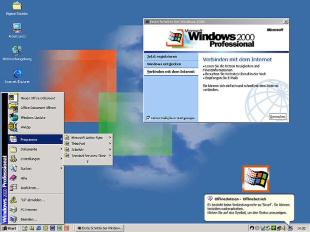 Plötzlich ist da dieses Internet: Windows 2000
