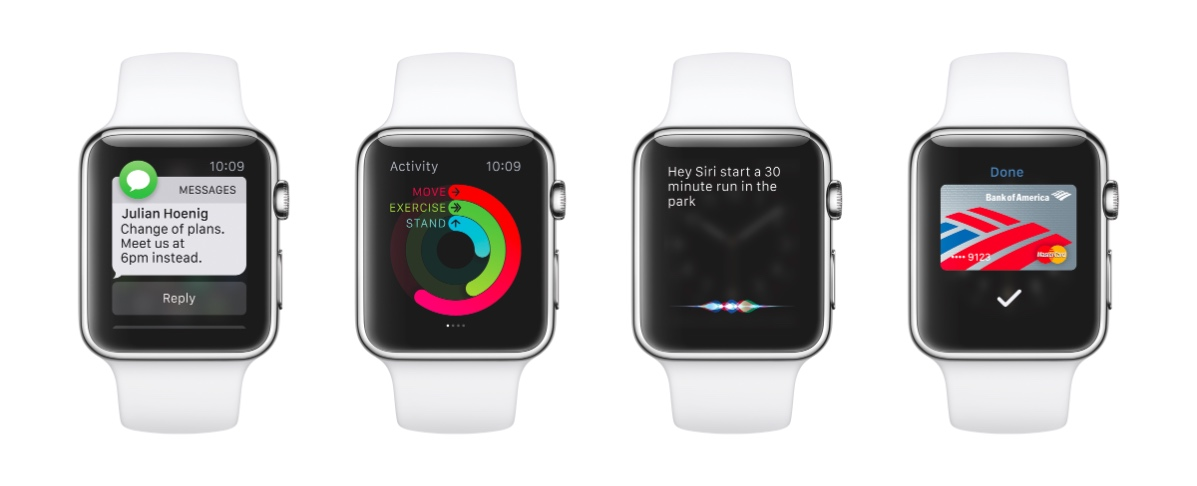 Eine einzige WhatsApp-Nachricht (links) nimmt das gesamte Display einer Apple Watch ein