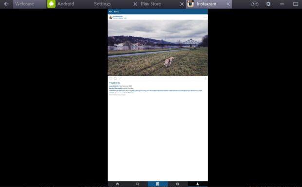 Instagram wird am PC über einen Android-Emulator dargestellt. (Foto: Sven Wernicke)