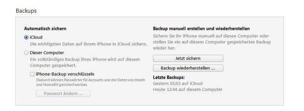 Erstellt ein Backup für Smart Switch. (Foto: Screenshot)