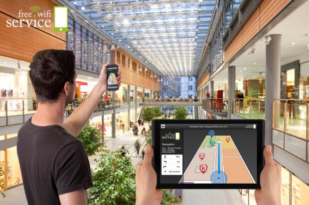 Navigation im Einkaufszentrum: Wo GPS nicht funktioniert, hilft WLAN aus (Bild: free-wifi-service.de)