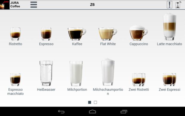 Die Jura Z6 bietet zahlreiche Kaffeespezialitäten, die auch übers Tablet ausgewählt werden können (Bild: Jura)