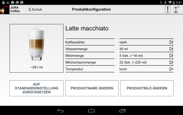 Mit der Jura Coffee App kann sich jeder seine eigene Kaffeekreation zusammenstellen (Bild: Jura)
