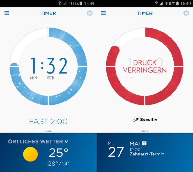 Die Oral-B-App (hier noch Version 3.1) überwacht das Zähneputzen (Bilder: Google Play)