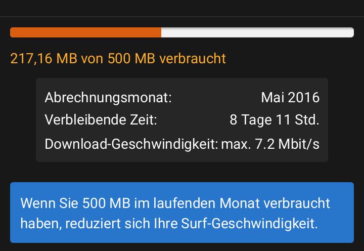 Öfter mal einen Blick auf das bisher verbrauchte Datenvolumen werfen (Screenshot: Peter Giesecke)