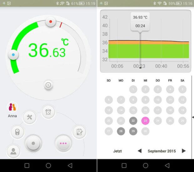 Die Thermo-App bereitet alle Messwerte grafisch auf und schlägt im Notfall auch Alarm (Bild: Medisana)