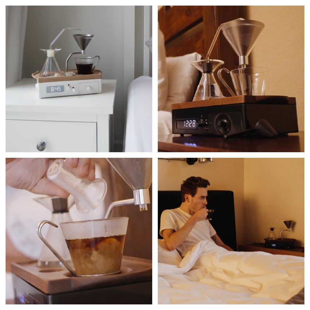 barisieur schoner aufwachen mit dem gemeinsamen kind von wecker und kaffeemaschine