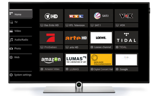 Die Mediathek des Lowe One bietet paralleles Aufnehmen und Zugriff auf Streamingdienste (Bild: Loewe)