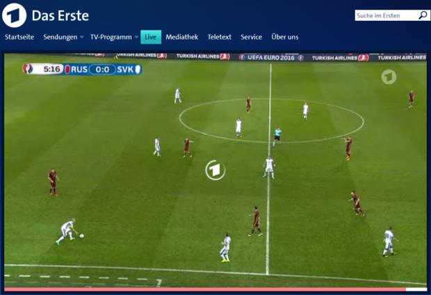 Livestream über Mediatheken: Wenn der Buffer leer ist, dreht sich nicht mehr der Ball, sondern nur noch der Kreis in der Mitte (Screenshot)