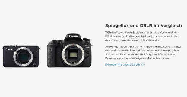 Bei dieser Canon-Werbung für die Systemkamera EOS M5 schimmert der Subtext klar durch. Motto: Wenn ihr was Echtes wollt, greift ihr weiterhin zur Spiegelreflexkamera.