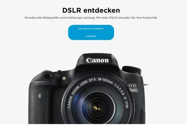 ... und hier wird es überdeutlich. Diesen weiterführenden Link teasert Canon wohlgemerkt im Angebot der Systemkamera EOS M5 an.