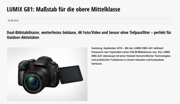 """Panasonic-Werbung für die Lumix G81. Warum muss es von jedem Hersteller eine """"obere Mittelklasse"""" geben?"""