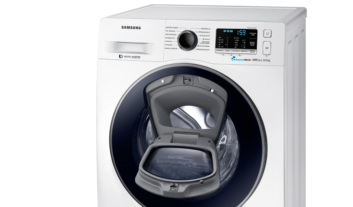 samsung addwash slim diese schlanke waschmaschine ist nur 45 cm tief euronics trendblog. Black Bedroom Furniture Sets. Home Design Ideas