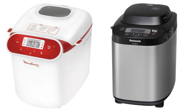 Die Backautomaten Moulinex OW 3101 Uno (links) und Panasonic SD-ZB 2512 KXE können ebenfalls mit glutenfreiem Mehl umgehen (Bilder: Moulinex, Panasonic)