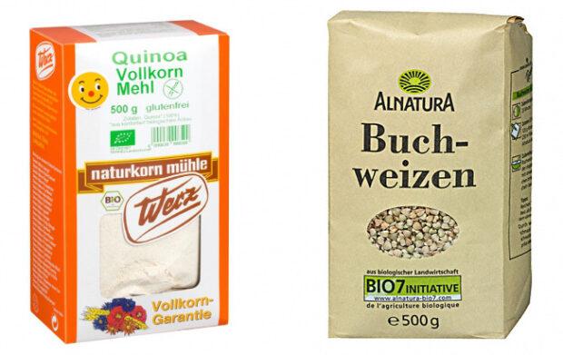 Buchweizenmehl und Quinoamehl sind beliebte glutenfreie Mehle (Bilder: Werz, Alnatura)