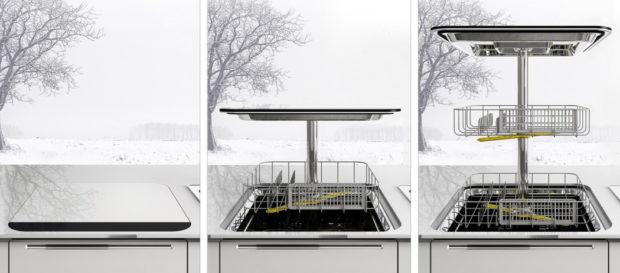 Der Hebemechanismus des Toploader-Geschirrspülers muss einiges aushalten (Bild: Yanko Design)