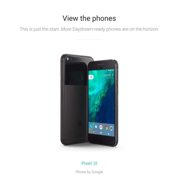 Einziges mit der Daydream View kompatibles Smartphone zum Start im November 2016: das Google Pixel (XL).