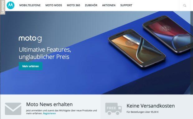 """Deutsche Motorola.de-Website. Der Name """"Motorola"""" verschwindet langsam zu Gunsten von """"Moto"""" und """"Lenovo""""."""