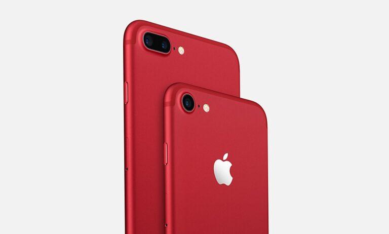 "Apple: iPhone 7 und iPhone 7 Plus in der Version ""(Product) Red"". Bild: Apple"
