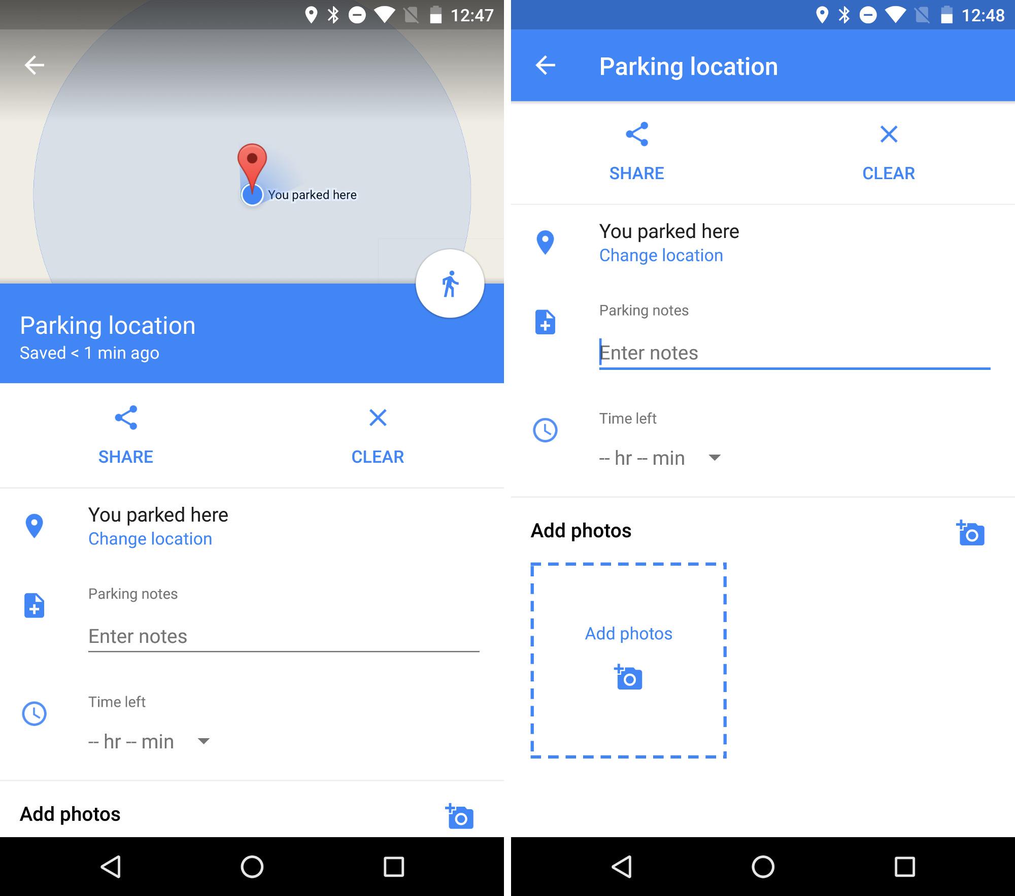 Google Maps merkt sich den Parkplatz - aber nicht ohne deine Hilfe (Bilder: Android Police)