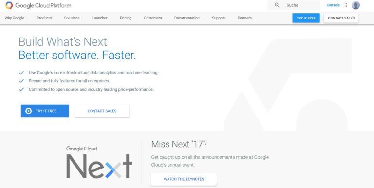 Google Cloud Platform ist nichts für Laien. (Foto: Google / Screenshot)