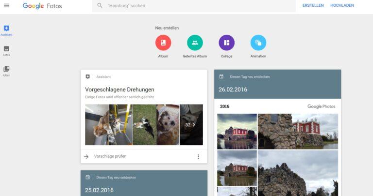 Google Fotos bietet auch einige praktische Features. (Foto: Google / Screenshot)