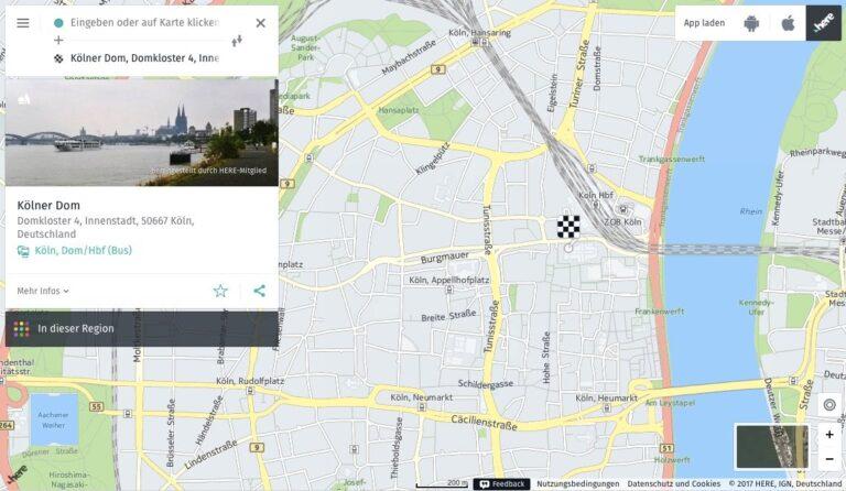 Here Maps findet den Kölner Dom und liefert noch einige Extra-Informationen.