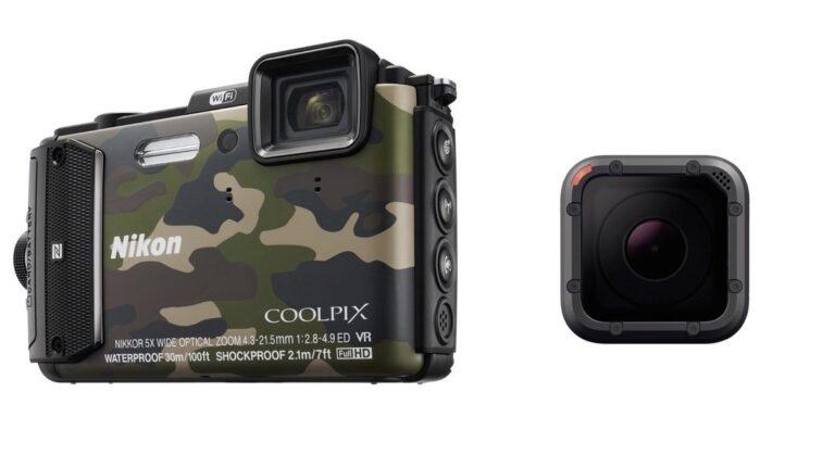 Der äußere Unterschied ist klar: Outdoor-Kompaktkameras (links) sind deutlich größer als Actioncams. Bilder: Nikon, GoPro
