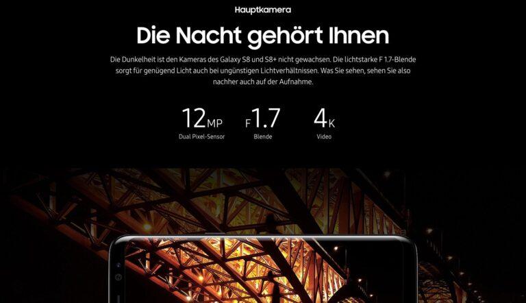 Samsung-Werbung für eine lichtstarke Kamera im Galaxy S8(+)