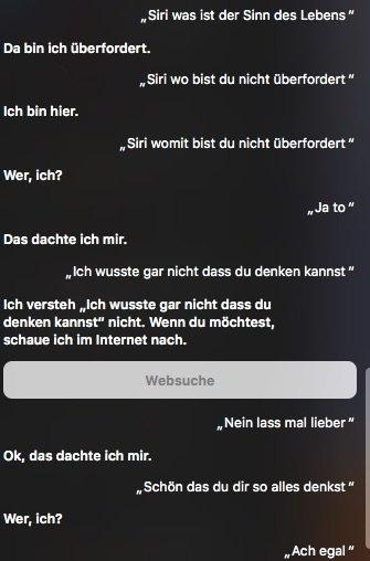 Schade, auch Siri reagiert bei der Frage nach dem Sinn des Lebens ausweichend.