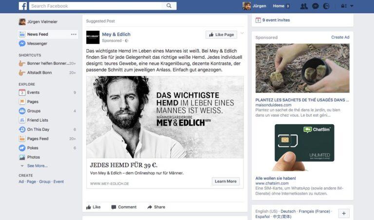 Werbung gibt es auf Facebook zwar mittlerweile en masse. Aber das wäre kein Problem, würde man wenigstens dazwischen das lesen, was wirklich interessiert.