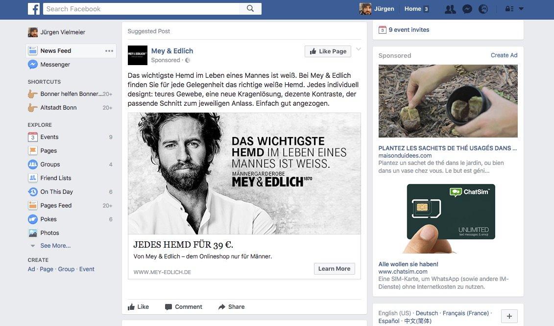 Werbung ist zentral für Facebook: mehr anzeigen und durch Profilbildung teurer verkaufen (Bild: Screenshot)