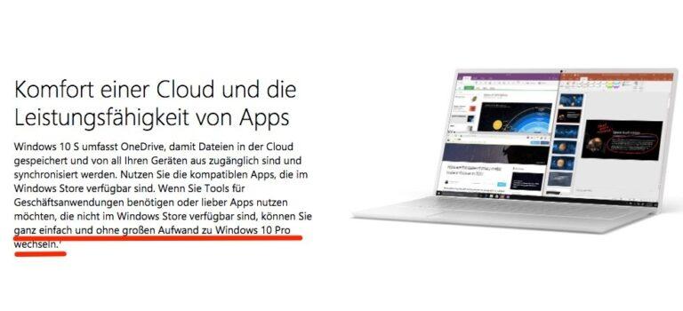 Wechsel von Windows 10 S auf Windows 10 Pro laut Microsoft problemlos möglich.