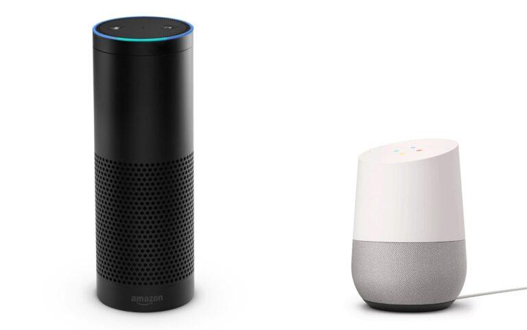 Amazon Echo und Google Home (Bilder: Amazon, Google)