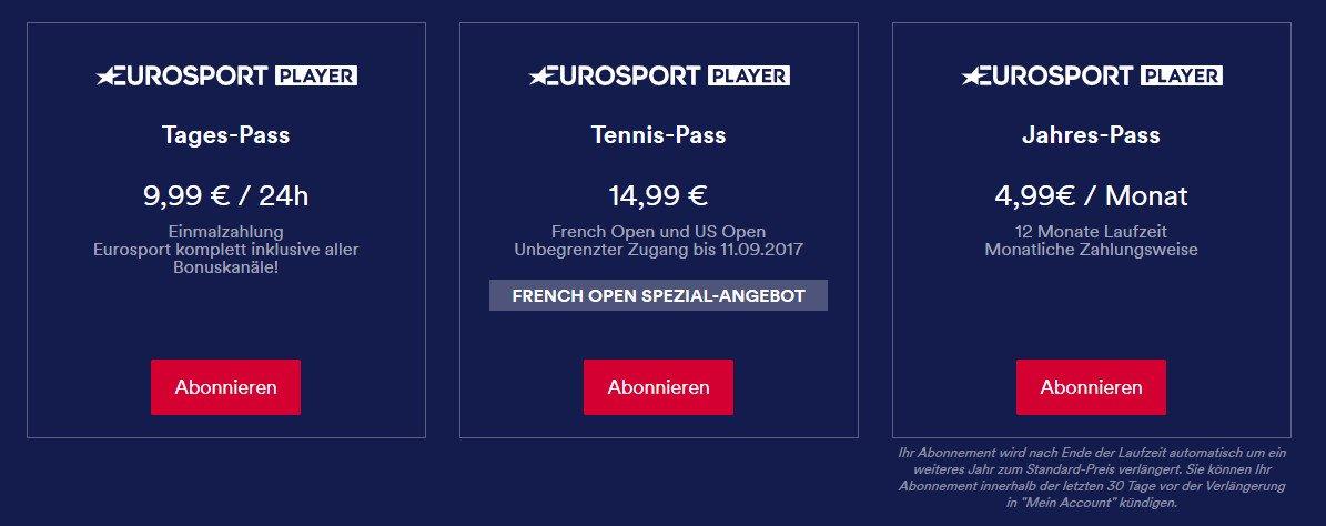 Eurosport bietet mehrere Abonnements an. Alles gibt es für 4,99 Euro im Monat (Screenshot von eurosport.de)