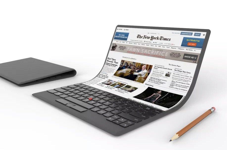 Lenovo wagt zu träumen: Konzept-Laptop mit biegsamem Riesen-Bildschirm