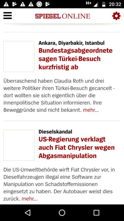Die Empfangseigenschaften – hier eine im WLAN halb geladene Seite von Spiegel Online – waren bei beiden neuen Moto Gs nicht so rosig. Im G5 noch etwas besser als im G5 Plus