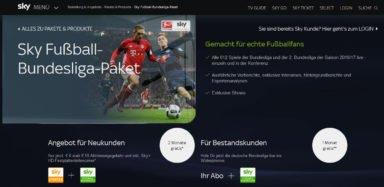 Sky Fußball Bundesliga (Screenshot von sky.de)