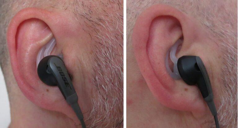 Die Earbuds des Bose SoundSport haben guten Halt und sitzen bequem (Bilder: Peter Giesecke)
