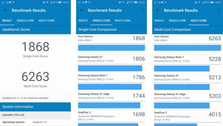 Geekbench-Benchmark des Huawei P10: Schlägt die Konkurrenz der Vorsaison.