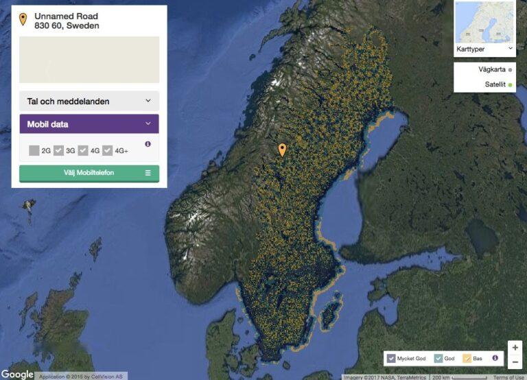 Satellitenbild Schwedens mit LTE-Netzabdeckung der Telia