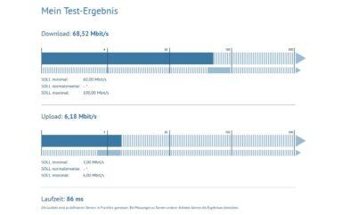 Geschwindigkeitsmessung mit breitbandmessung.de (Screenshot: Peter Giesecke)