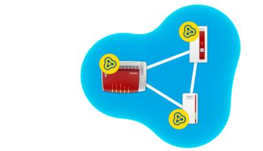 Meshnetz mit Fritzbox und Repeater von AVM (Bild: AVM)